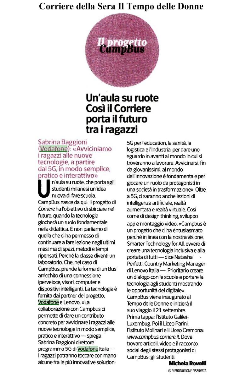 """Il laboratorio #Campbus di @Corriere con @VodafoneIT e @lenovoitalia insegna ai giovani le tecnologie digitali più avanzate, come #5G #AI #AR. """"Coinvolgiamo i ragazzi in modo semplice e interattivo"""" – Sabrina Baggioni, direttore programma #5G @VodafoneIT a @mirovelli su @Corriere https://t.co/TRKWy3h1xL"""