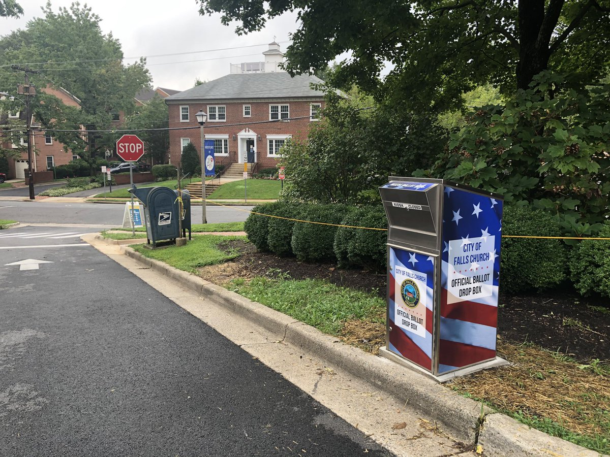 #FallsChurch ballot drop box installed and ready for use. Ballots will be mailed soon. This box is bolted to concrete and under 24/7 surveillance. Safe and secure for casting your by-mail ballot in person to City Hall.