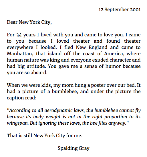 Spalding Gray's letter to NYC, 12th Sept 2001 https://t.co/Eagww5C2sl