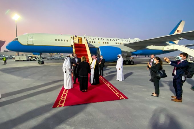 Secretary of State Michael R. Pompeo arrives in Doha, Qatar, on September 11, 2020. [State Department photo by Ron Przysucha/ Public Domain]