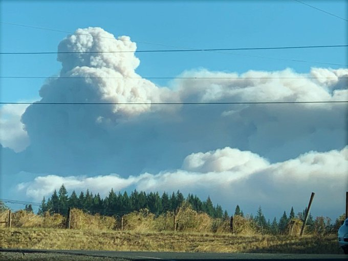 Smoke billows above the Riverside Fire on September 8, 2020 on the Mt. Hood National Forest in Oregon. Credit: USDA Forest Service Mt. Hood National Forest