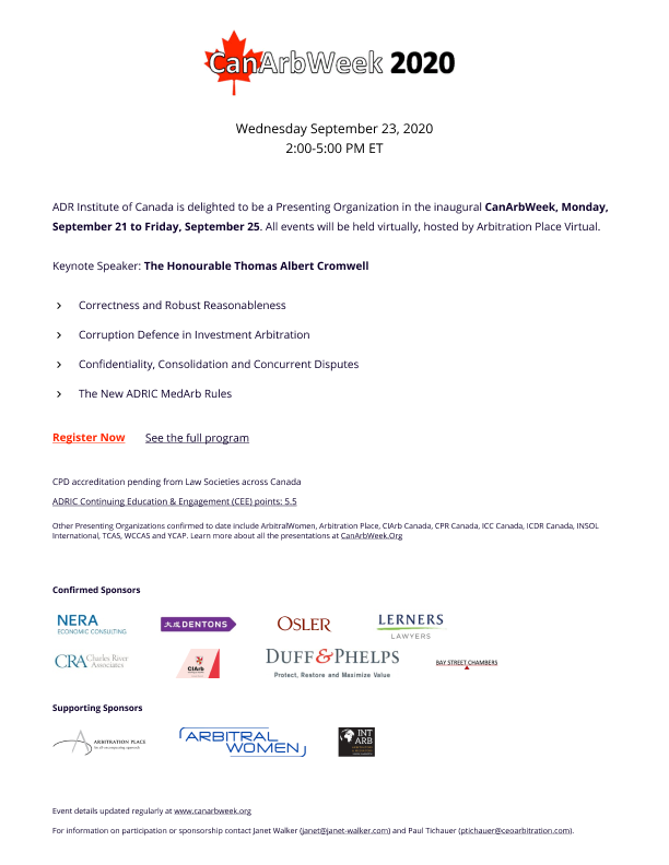 ADR Institute of Canada is delighted to be a Presenting Organization in the inaugural CanArbWeek!   ADRIC will be presenting its sessions for CanArbWeek on Wednesday September 23, 2020 from 2:00-5:00 PM ET  See the full program: https://t.co/zBI4TyMFYS https://t.co/2XzuiDkTEz