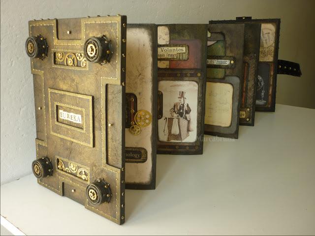 """https://t.co/MlzxTv0inZ Esta tarde traemos para el trabajo estilo """"Steampunk"""" de la italiana Elisa Palagano, artesana, encuadernadora, diseñadora y artista. Conoce un poco de su trabajo retrofuturista #lokomotora #steampunk #encuadernacion #libros"""