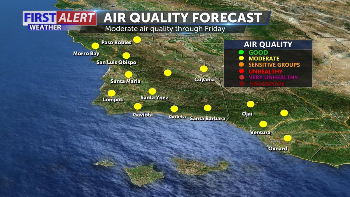 An Air Quality ⚠️ in effect across #VenturaCounty until Sunday at 5 PM. The Air Pollution District for San Luis Obispo, Santa Barbara and Ventura Counties is forecasting moderate air quality through Friday. https://t.co/wqUYlsRKK7