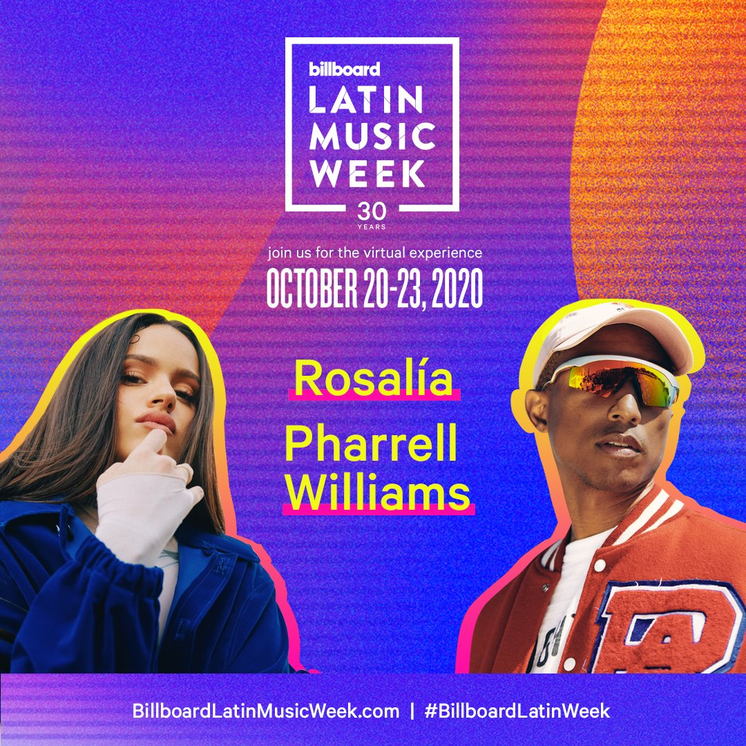 Dont miss @rosalia and @Pharrells Q&A at 2020 #BillboardLatinWeek! Get all the details here: blbrd.cm/aNizvRj