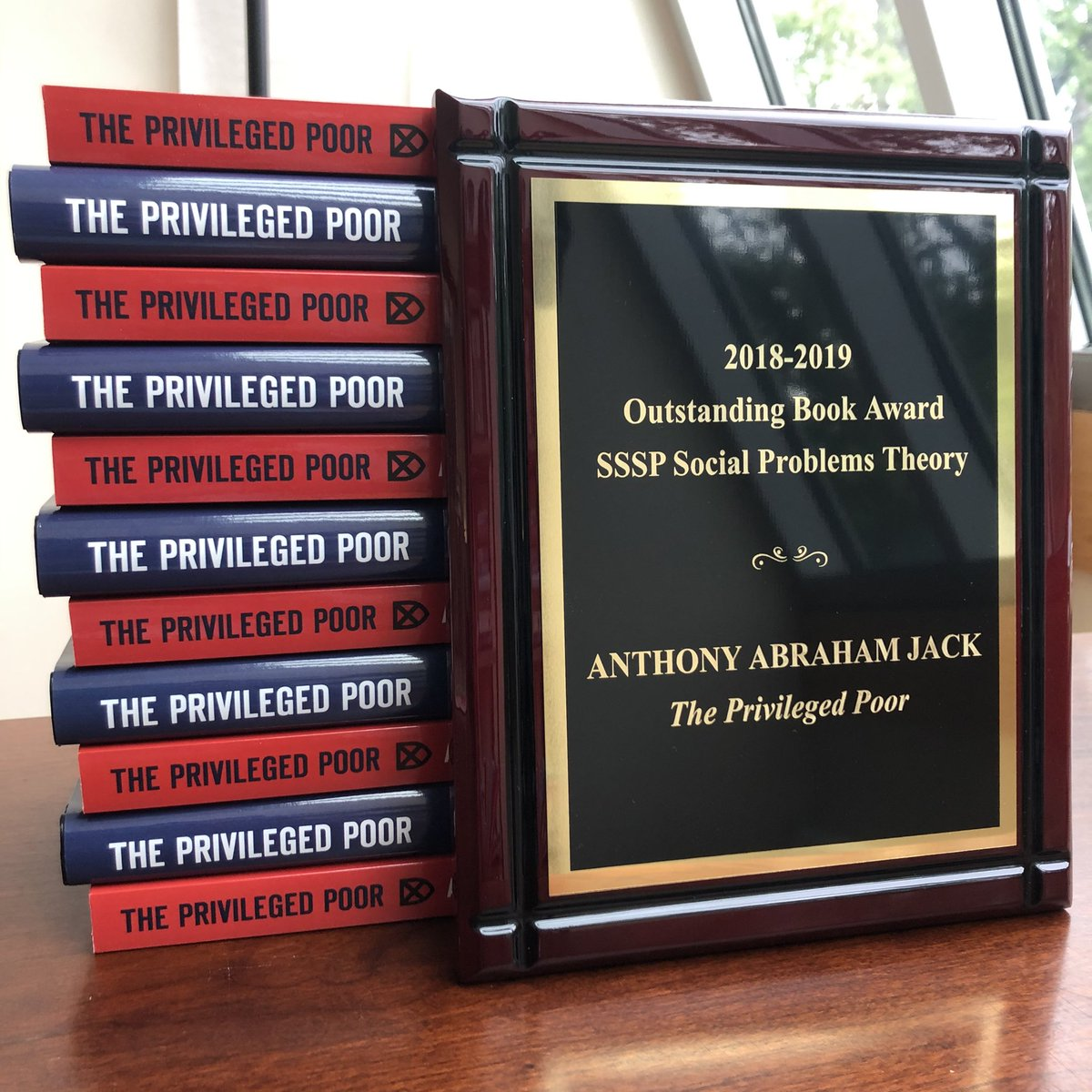 Good mail day. The plaque arrived for the Outstanding Book Award from the Theory Division of @SSSP1org (for books published in 2018 and 2019). #HappyFriday #ThePrivilegedPoor https://t.co/tsx0k7RBsg