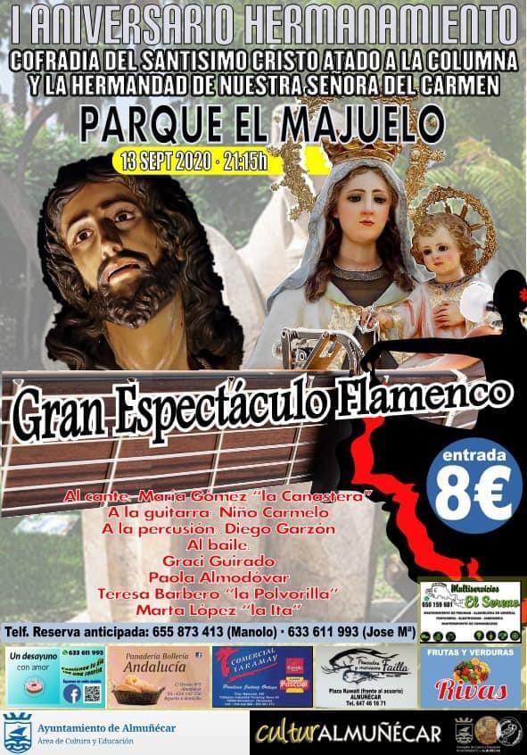 13 de Septiembre Domingo a las 21:15 Horas en el Parque El Majuelo, el espectáculo flamenco del I Aniversario de Hermanamiento de la Hermandad del Cristo de los Gitanos y la Hermandad de la Virgen del Carmen.