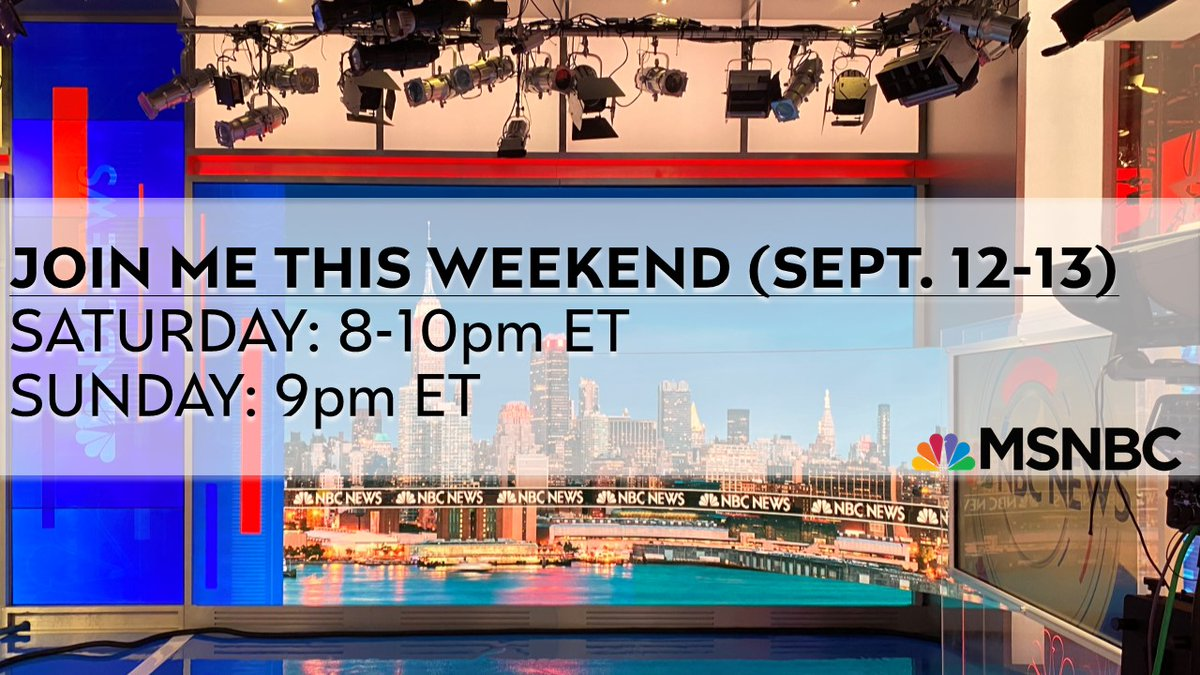 """Premiering next wknd @MSNBC: @YasminV 3-5 pm ET, """"American Voices w/@AliciaMenendez"""" 6-8pm ET & """"The Week w/Joshua Johnson"""" 8-10pm ET. Then we'll get up """"Way Too Early w/@Kasie Hunt"""" weekdays at 5am ET. Congratulations to these remarkable women: I am honored to be your colleague. https://t.co/dFo2pFBadR"""