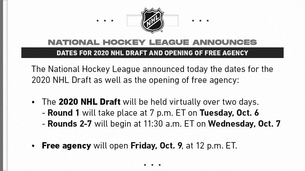 Round 1 of the 2020 #NHLDraft will begin at 7 p.m. ET on Tuesday, Oct. 6, with remaining rounds and the opening of free agency to follow later that week. https://t.co/sGx3MEYDh5 https://t.co/4Ur9TRR9Pe