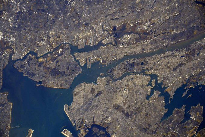 New York City area photographed in daylight from low Earth orbit