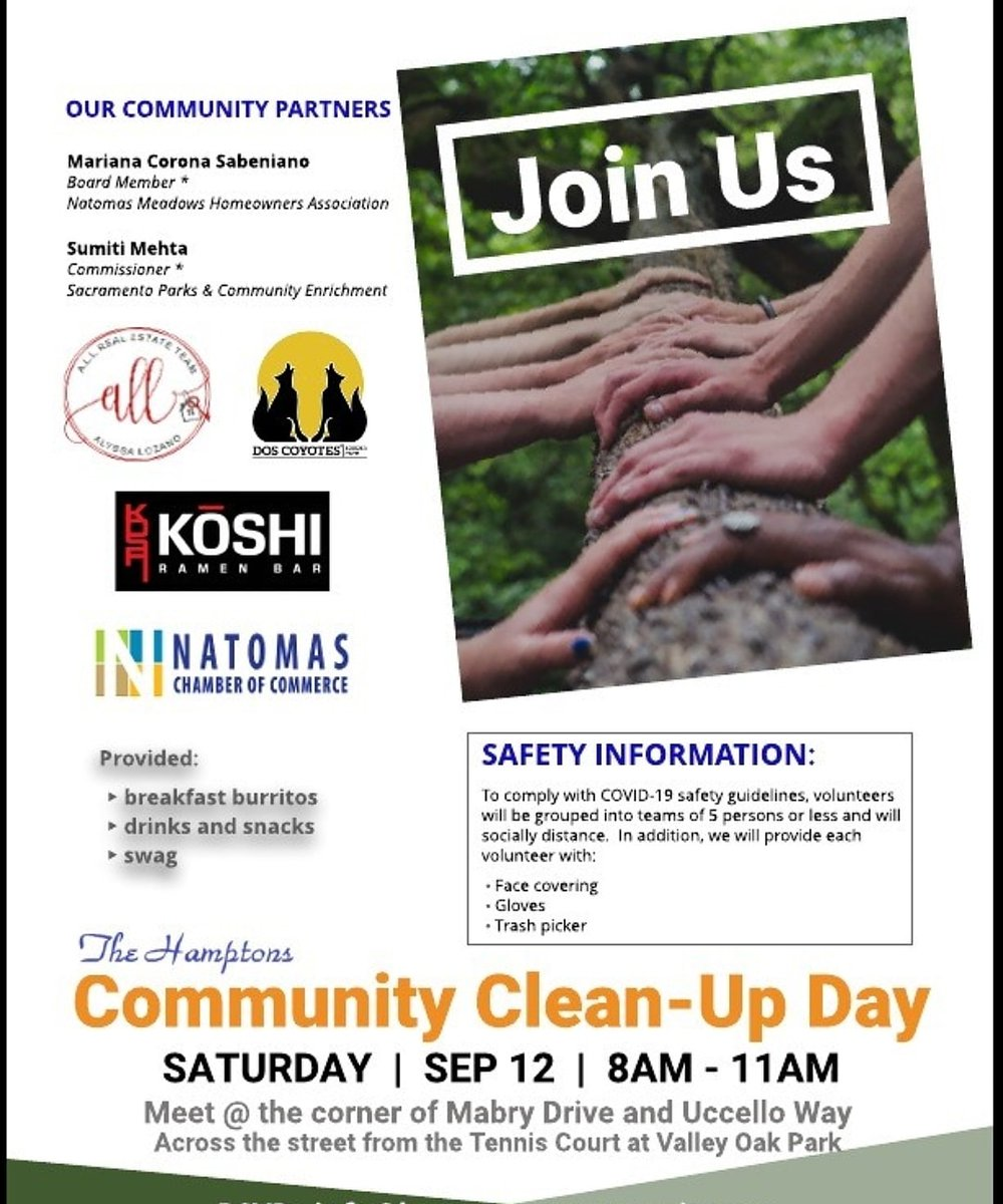 Make a Difference. Sign up for  Community Cleanup Day  >Free breakfast burritos from Dos Coyotes >Free snacks from Koshi Ramen Bar Natomas >Free refreshments  >Prize from Sactomofo  >Swag   Masks, gloves and pick up sticks will be provided.    RSVP: info@hamptonscommunity.org https://t.co/98hLCvdktq