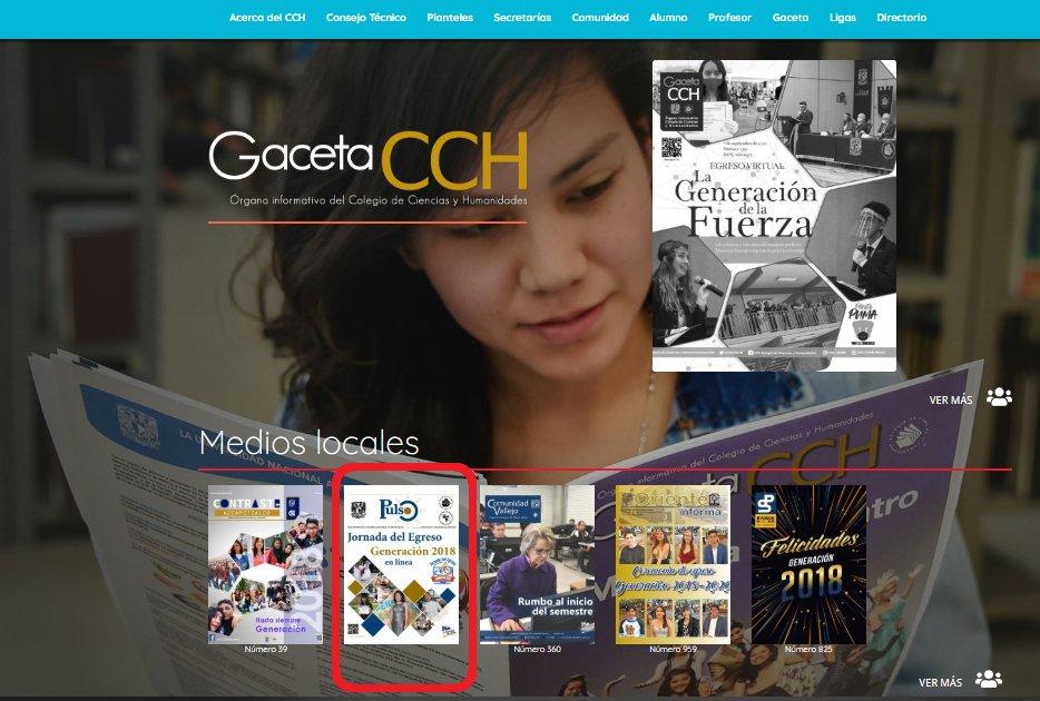 #DGCCH El Nuevo portal de la #DGCCH incluye un espacio para los Medios Locales del #CCH. #Pulso está incluido, en esta ocasión con su ejemplar Especial sobre la #JornadaDelEgresoGeneración2018enLínea https://t.co/U5z0avC7d3 https://t.co/v6lr2NuHKU