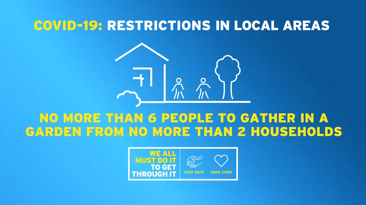 If you live in an area with local restrictions you can have no more than six people in your garden, from no more than two households. Find out more: https://t.co/J2kYqyEcok https://t.co/4OOqOtqUTC