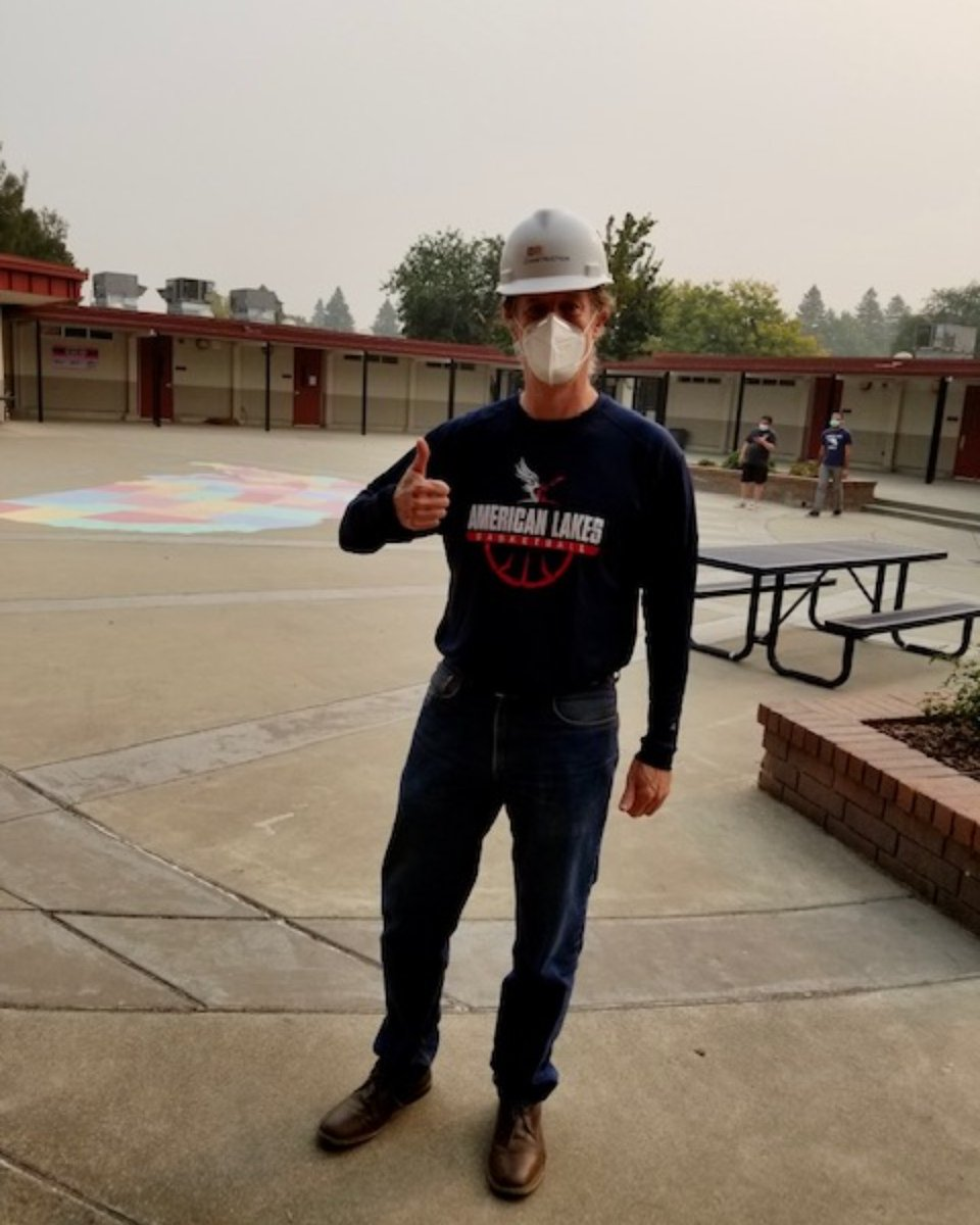 Happy Friday from Principal Dickinson! He can't mask his excitement for the construction progress being made at American Lakes School. https://t.co/dznnbT6oE5