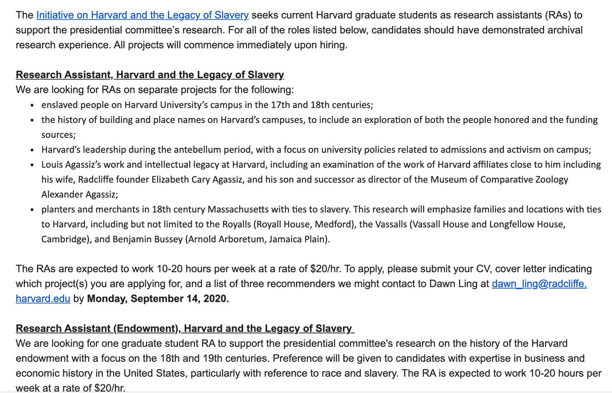 I just received an email re: Harvard's plans to hire graduate students to continue the Harvard and Slavery research that I worked on for two years as the Harvard and Slavery Research Associate. Since Harvard thrives on obfuscation, let me speak clearly to anyone applying: https://t.co/okM3QinXX1