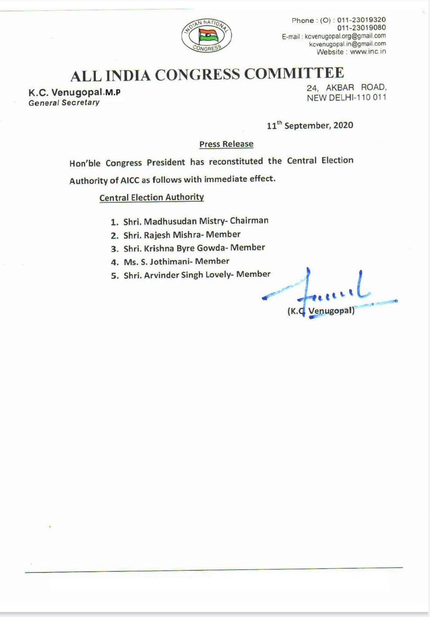 """Amrish Ranjan Pandey's tweet - """"Congratulations & best wishes to all new  members of the CWC & the newly appointed General Secretaries & In-Charges  of AlCC.We assure you that together under your"""