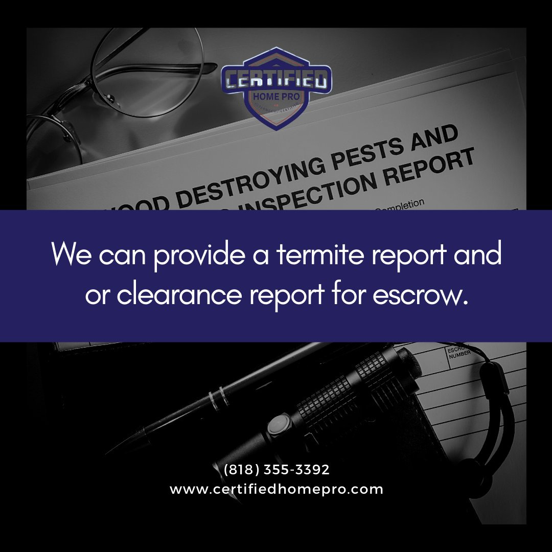 Our termite inspections services will help protect your home or business. We can provide a termite report and or clearance report for escrow. . . . . . #TermiteInspection #HomePro #HomeInspectors #creditreport #foreclosure #renovated #plumbing #Certified https://t.co/jOnYrIMdNc