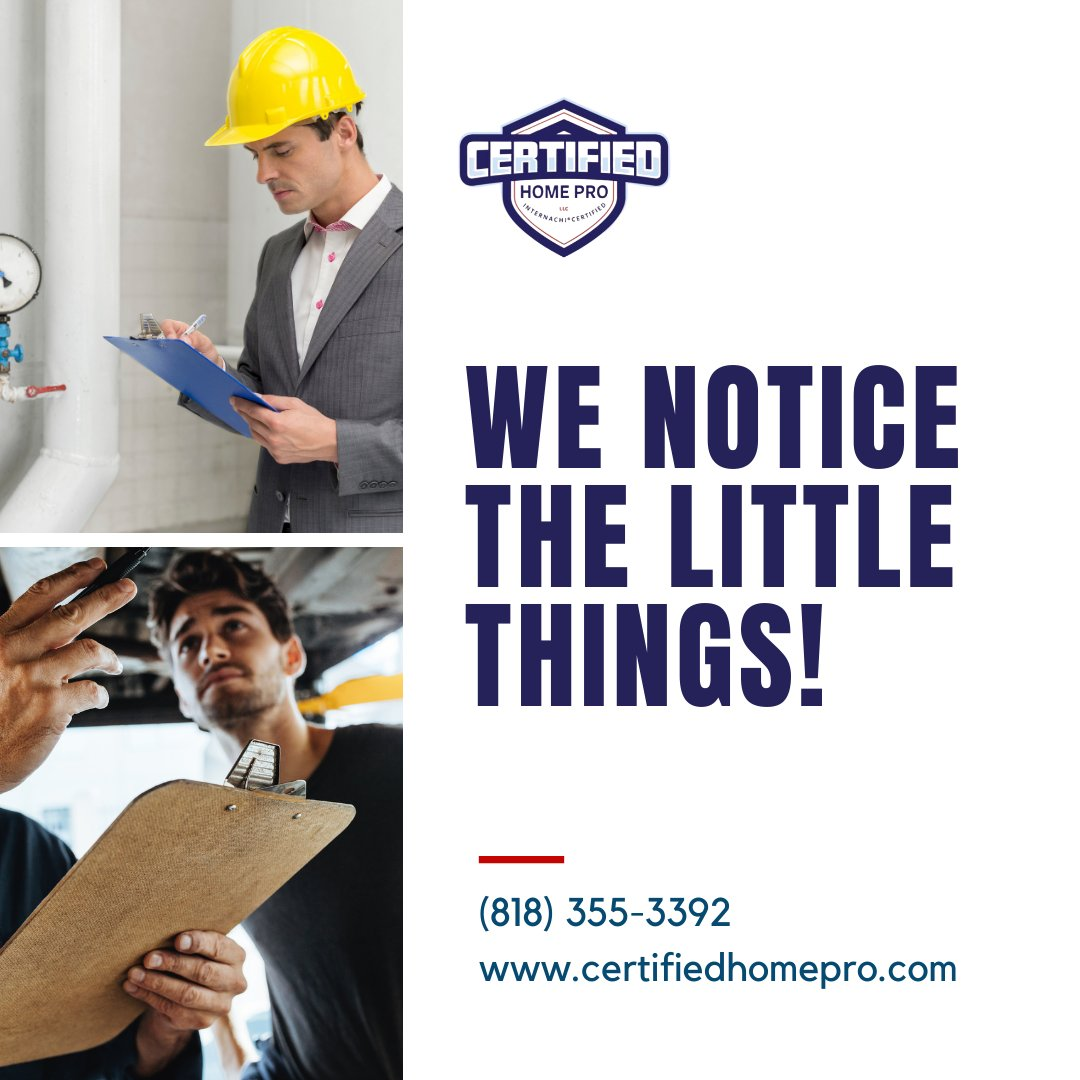 We Notice the Little Things! . . . . . #HomePro #HomeInspectors #creditreport #foreclosure #renovated #plumbing #Certified #Licensed #Insured #CertifiedHomeProfessionals #Professionals #InspectionServices #California #Pasadena #Termitereports #Sewer #Mold #Termite #HomeInspection https://t.co/zAgqdEN5gE