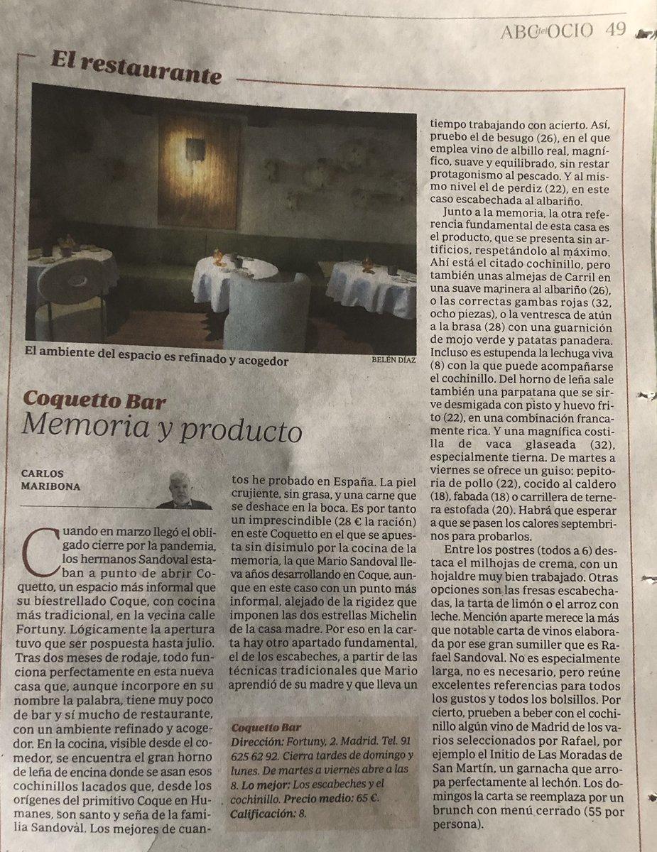 Mi crítica de esta semana en la edición impresa de ABC. Coquetto. Un acierto de los hermanos Sandoval. https://t.co/y6ISHPYlPF