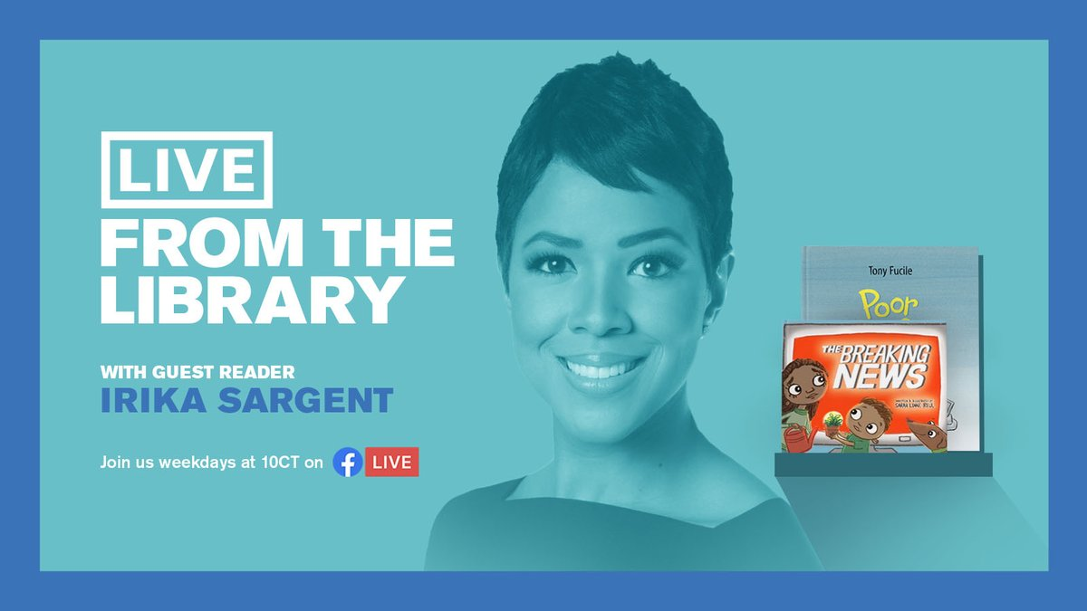 Anchor @IrikaSargent of @cbschicago is the next of the Windy City's amazing broadcast journalists to join #LiveFromTheLibrary! Join her Monday as she reads two books, Poor Louie by Tony Fucile and The Breaking News by Sarah Lynne Reul, an especially relevant story for our time. https://t.co/eyuS1SgrtQ
