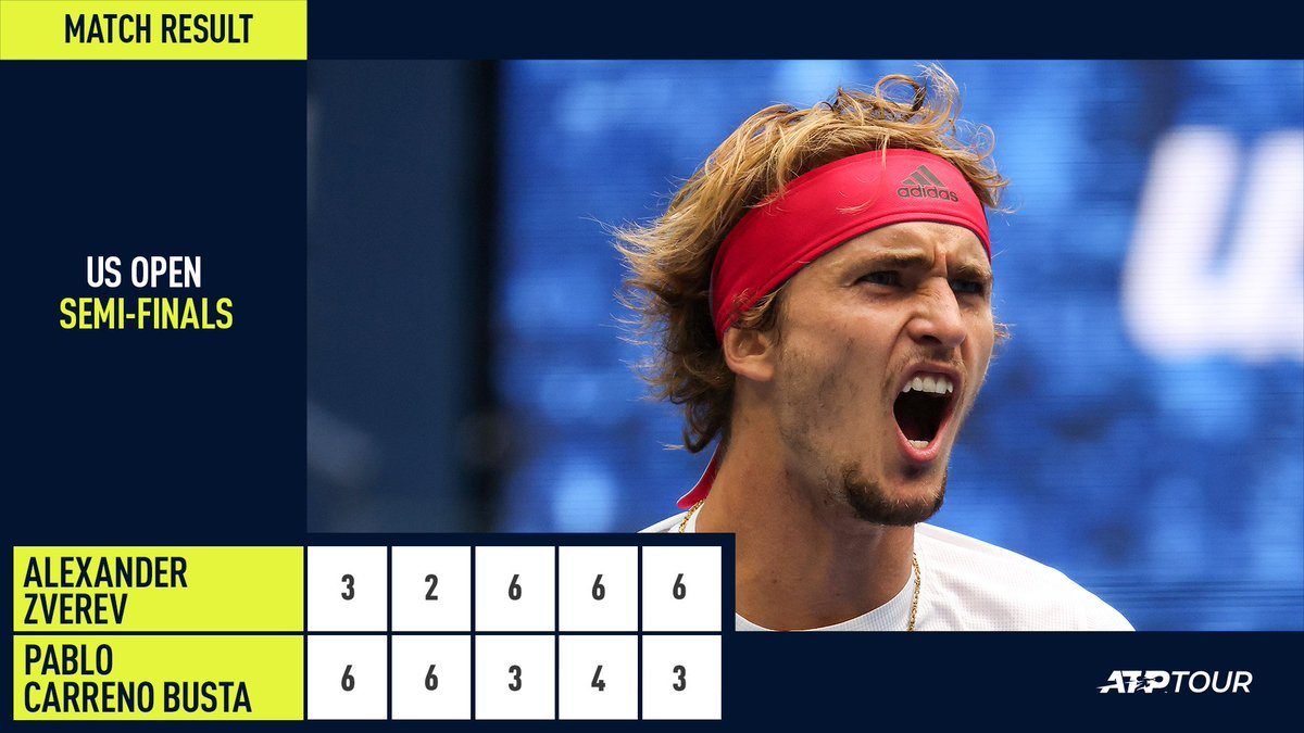 THE COMEBACK OF HIS LIFE 🤯   🇩🇪 @AlexZverev is into his first Grand Slam final after coming back from two sets to love down for the first time in his career! #USOpen https://t.co/aCrK9Ure4M