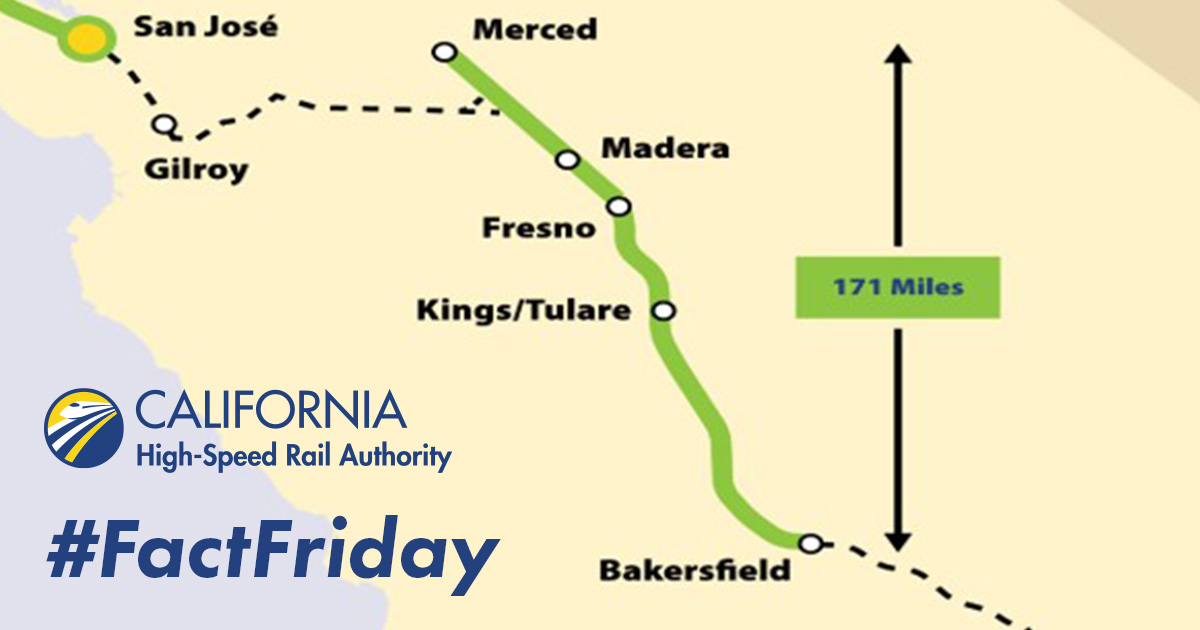 We're all clear – with approval of the Central Valley Wye environmental document, we now have full environmental clearance for 171 miles of HSR alignment between Merced and Bakersfield.   Next up, Bakersfield to Palmdale!  #FactFriday https://t.co/mpafn0ZeA9