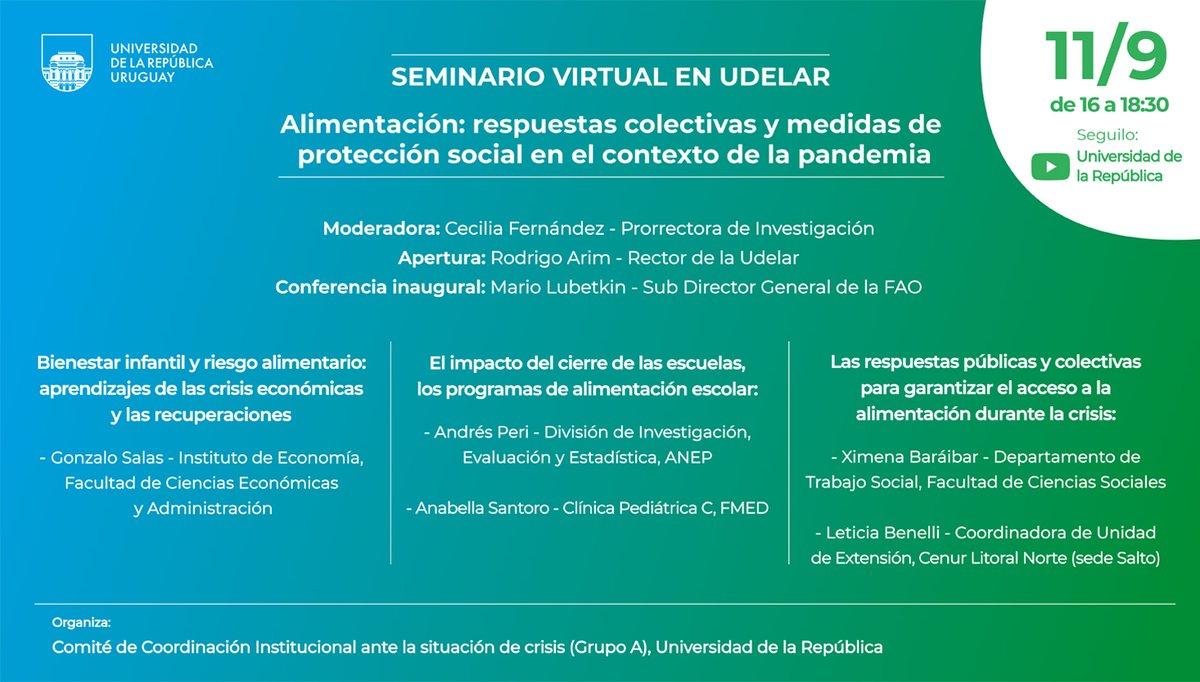 Ahora se realiza el seminario virtual en #Udelar  «Alimentación: respuestas colectivas y medidas de protección social en el contexto de la pandemia» Transmite el canal de la Universidad de la República: https://t.co/QONvvC6ziN y @UNIRadioUdelaR 107.7 FM https://t.co/HHAPh4ls7E