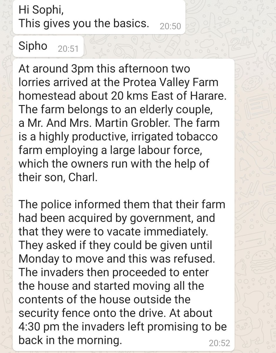 """Siphosami Malunga on Twitter: """"This is untrue. It's actually an invasion of  a highly productive farm. Is the govt still conducting or condoning farm  invasions? Who wants to seize the Grobler's farm?"""
