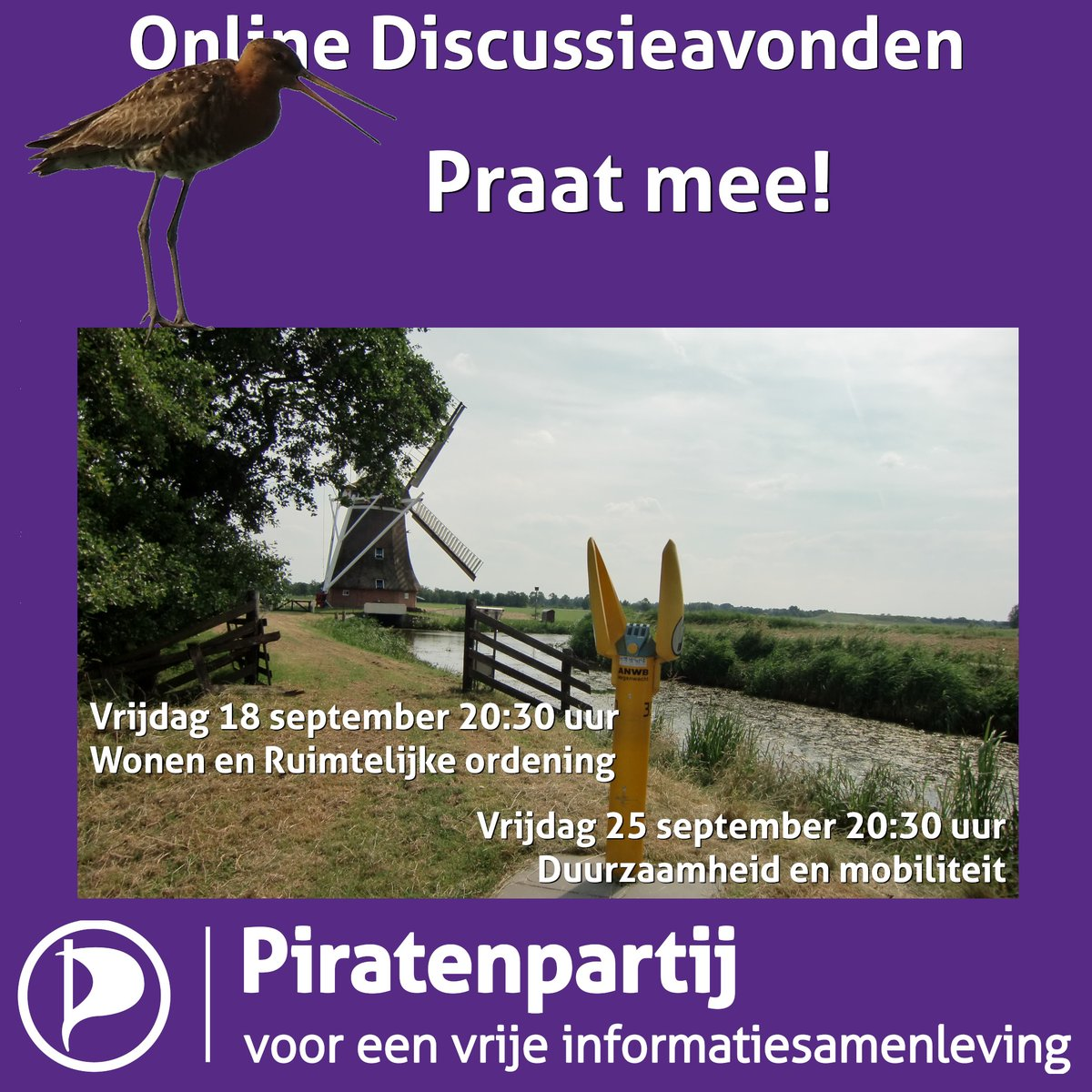 Online Discussieavonden  Vrijdag 18 september 20:30 uur Vrijdag 25 september 20:30 uur  Wonen en Ruimtelijke ordening & Duurzaamheid en mobiliteit  #discussie #piratenpartij #piraten  Praat mee! https://t.co/D3yeA4DUa3 https://t.co/A2XrMUequF