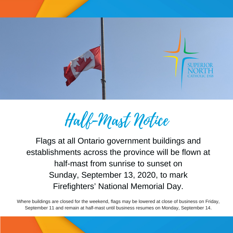 Flags at all Ontario government buildings and establishments across the province will be flown at half-mast from sunrise to sunset on Sunday, September 13, 2020, to mark Firefighters' National Memorial Day. https://t.co/X684269Wz3