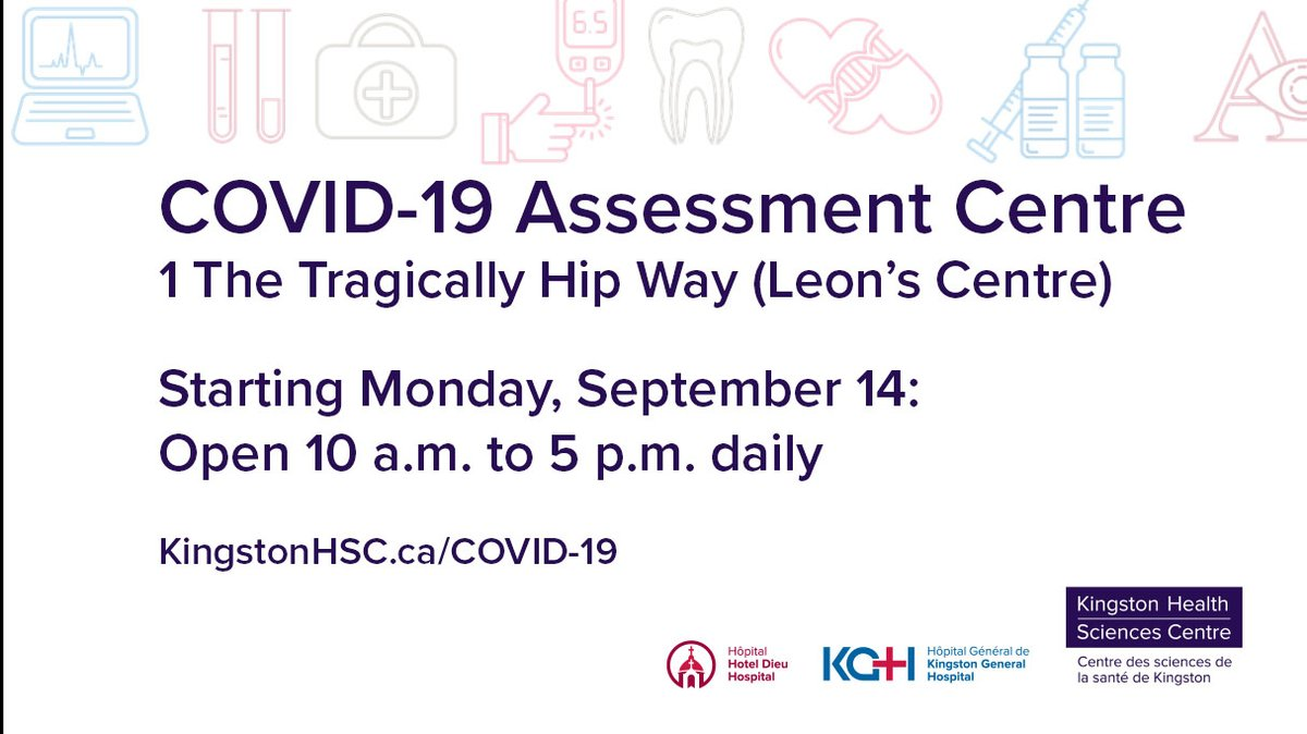 test Twitter Media - The hours of our COVID-19 Assessment Centre are changing.  As of Monday, Sept. 14 we are open daily 10 a.m. to 5 p.m.  Please remember that a valid Health Card and Photo ID are required for testing. More details: https://t.co/wrSiR5ZozS #ygk @KFLAPH https://t.co/sDjEwlm9XI