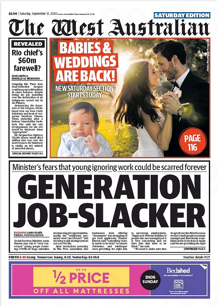 Generation Job-Slacker. Minister's fears that young ignoring work could be scarred forever ~ @lanai_scarr   #frontpagestoday #Australia #TheWestAustralian #buyapaper 🗞 https://t.co/XCVPCaZGnI