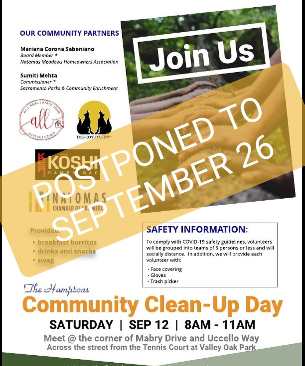 Tomorrow's community cleanup in Natomas has been postponed to Sept. 26 due to poor air quality. https://t.co/N1Ag1dAxJ4