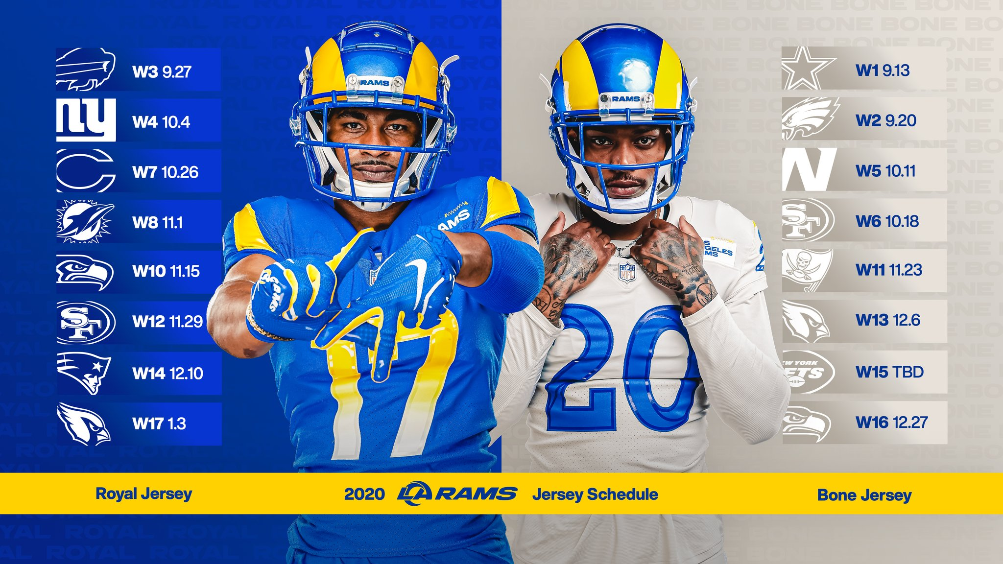 Los Angeles Rams On Twitter New Year New Home New Look Your 2020 Uniform Schedule