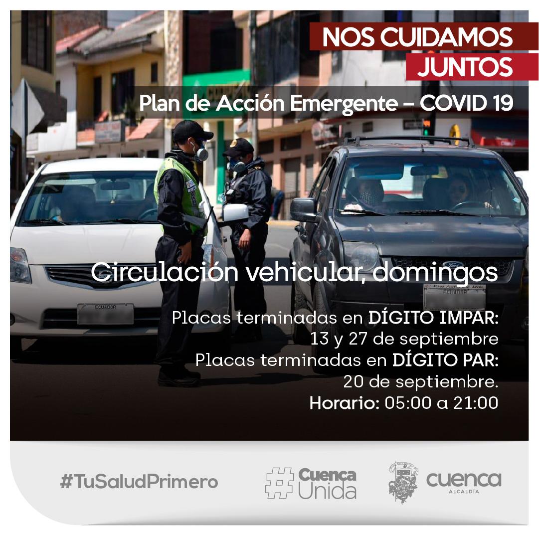 """""""¡La Pandemia no ha terminado!  Plan de Acción Emergente – COVID 19  Circulación vehicular, domingos 🚗🛵  👉Placas terminadas en dígito IMPAR: 13 y 27 de septiembre  👉Placas terminadas en dígito PAR: 20 de septiembre.  ⏰21:00 a 05:00.  #TuSaludPrimero #NosCuidamosJuntos"""" https://t.co/MV8hcb89hO"""