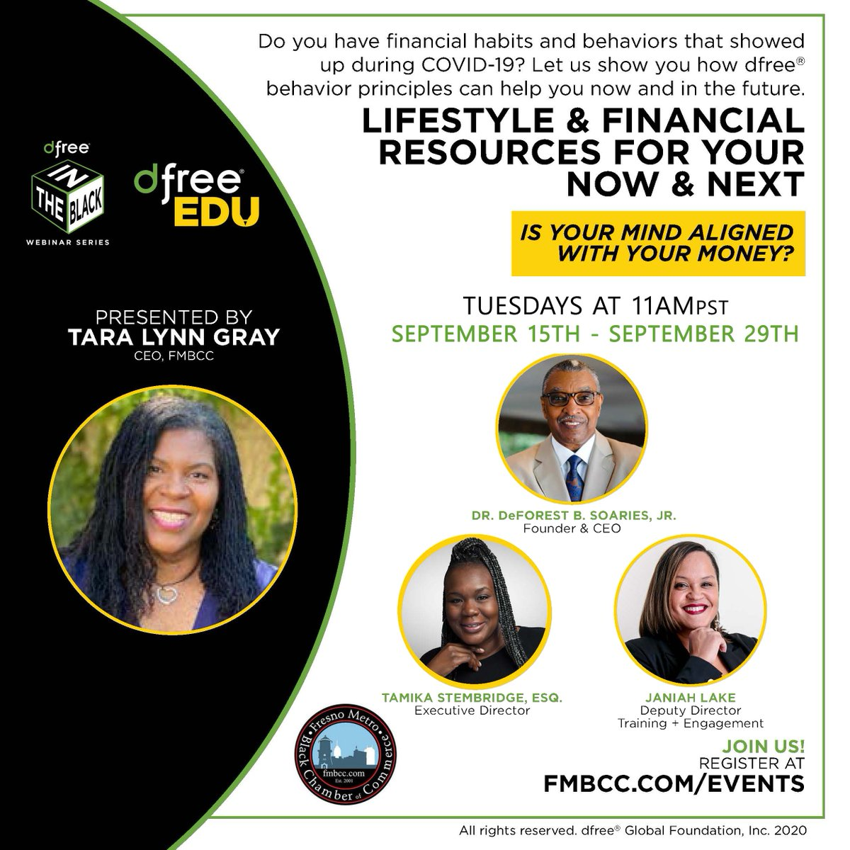 Now is the time to begin your journey to #financialwealth and #debtfreedom! Join us on TUESDAYS at 11am as we continuing our @DFree Financial Literacy webinar series. ⬇️⬇️⬇️ Register Here: https://t.co/mOB0WZkBXb https://t.co/8UbBVKIfo2