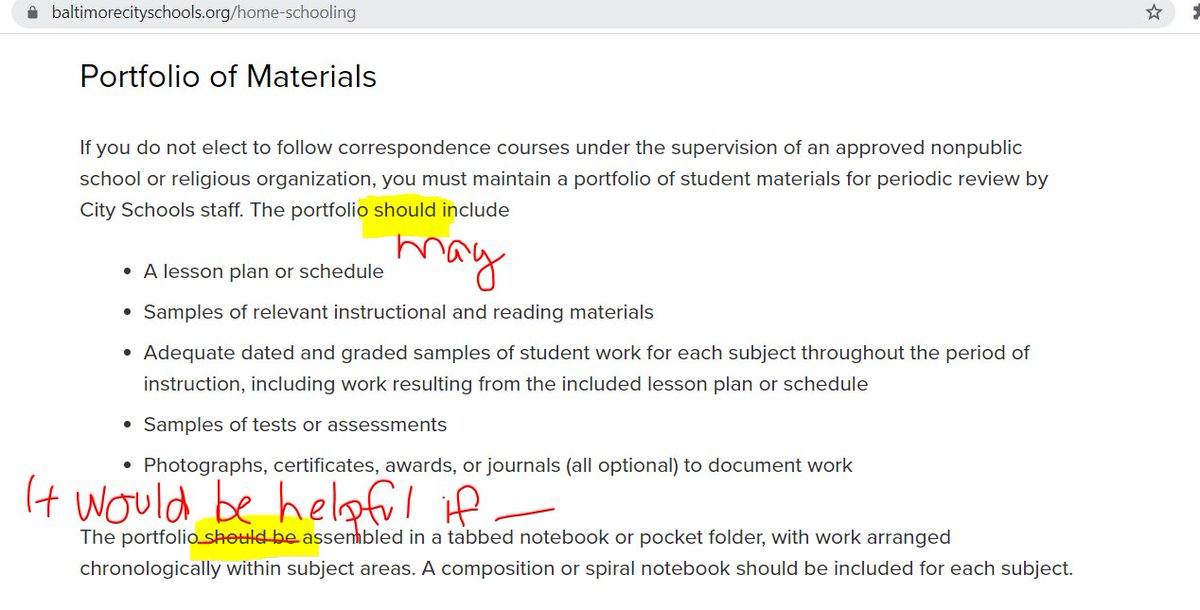 @SonjaSantelises We know that precision of language can be a tricky skill - but @BaltCitySchools is on the right track with communicating accurate info about Maryland homeschool portfolio reviews. We'll refer you back COMAR 13A.10.01 so you can edit your page accordingly. https://t.co/9kLM89BMb5