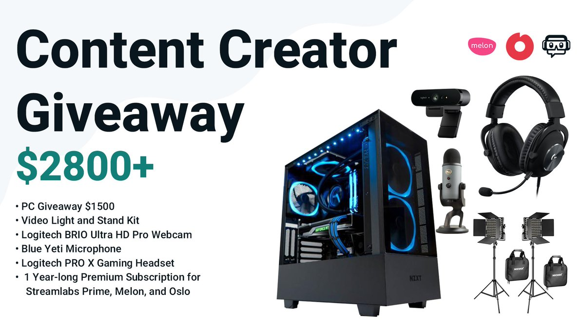 🎮 New Content Creator #Giveaway  🤳 Like & RT 💬 Tag a friend 😍 Follow @Streamlabs, @VastGG, @osloio, @melonappcom  ⬇️ Enter Here ⬇️ https://t.co/DWJXfkvL0H https://t.co/ZtiLBMsB3l