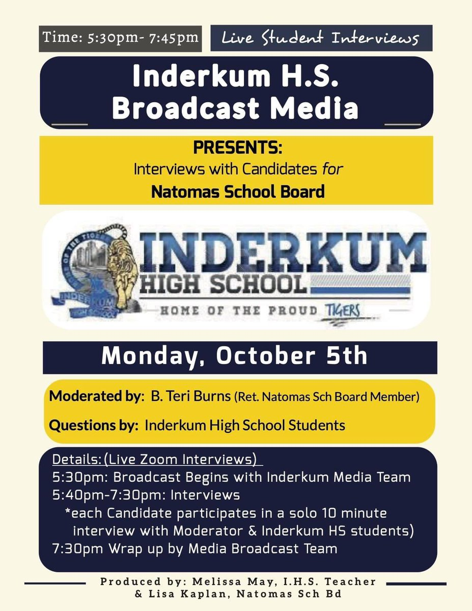 Mark your calendars - Oct 5th for an evening getting to know the Candidates for #Natomas School Board. Questions generated & asked by #Inderkum High School Broadcast Media students. https://t.co/vISwrXZpqZ
