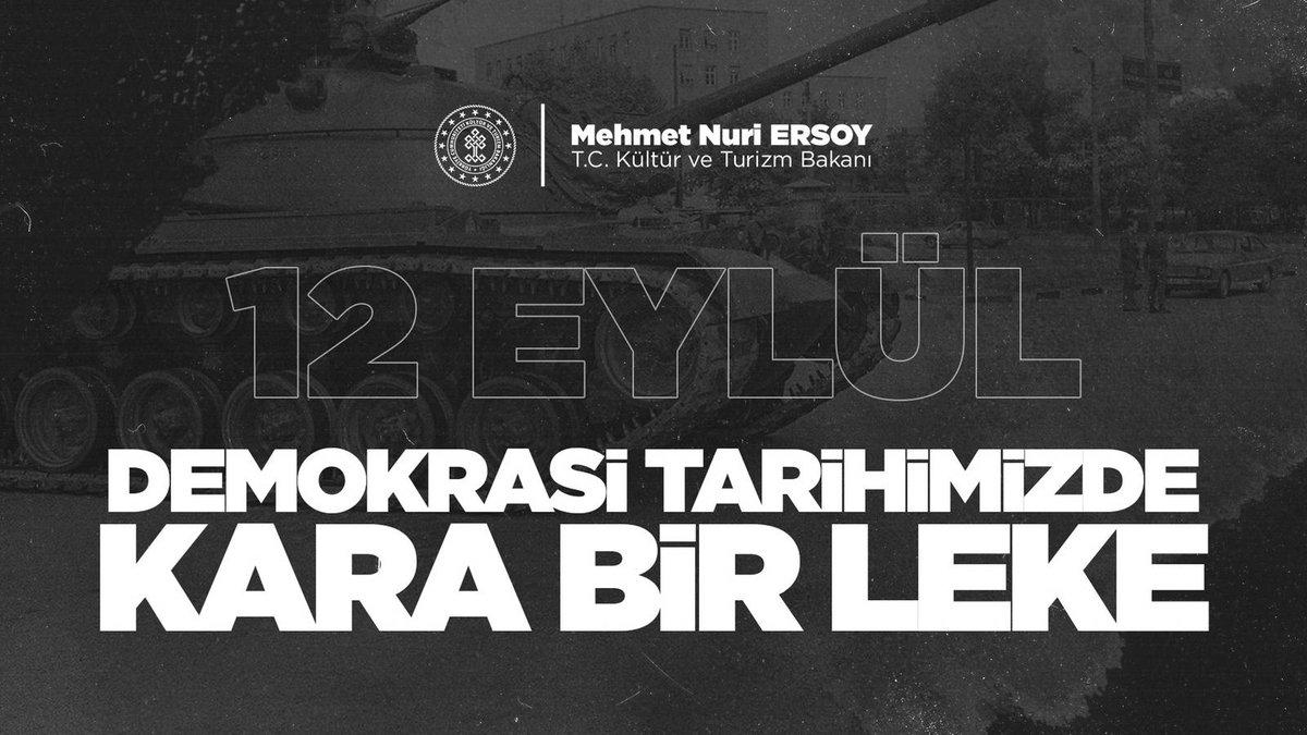 Tarih defterimize kara bir leke olarak düşen #12Eylül darbesinin yıl dönümünde tüm demokrasi şehitlerimizi rahmetle anıyorum.  Millî iradeye ve demokrasiye #15Temmuz'da olduğu gibi her zaman sahip çıkmaya devam edeceğiz. https://t.co/W1rY6VFt5o