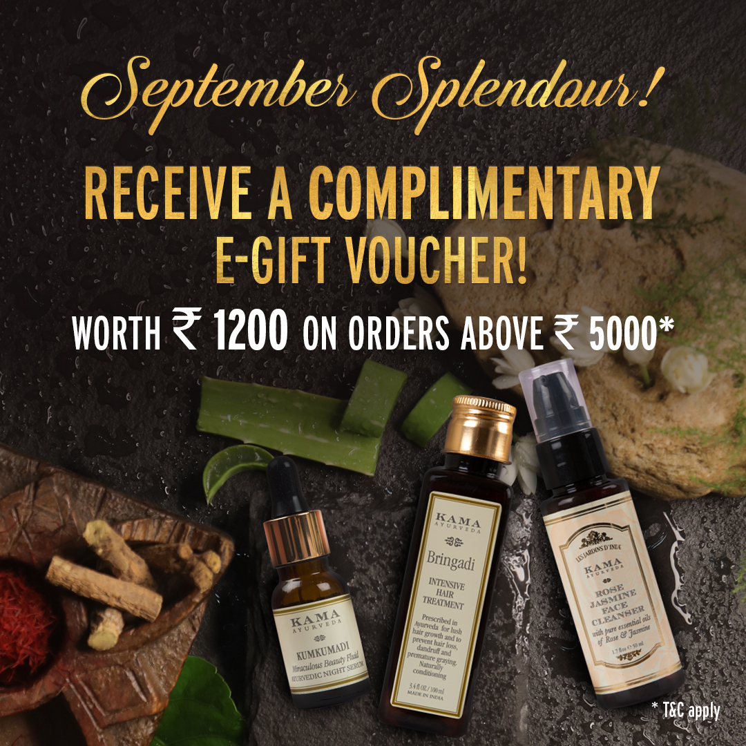 #SeptemberSplendour: We have something incredibly special for you! Shop, at your nearest #KamaAyurveda store or on our website, worth ₹5000 & get a complimentary e-gift voucher worth ₹1200 from us. * https://t.co/nc2Bv092Cd  *Offer valid for a limited time. T&C Apply https://t.co/ZH6wWSqltK