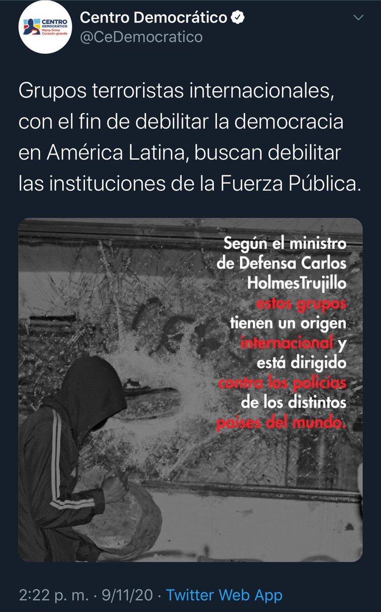 Ministro Holmes es el jefe de los militares que ejecutaron la masacre contra jóvenes civiles en Bogotá. Ahora inventa conspiraciones internacionales para asesinar a su pueblo. Uribe y Duque son los jefes políticos de una guerra histórica, mientras el Ministro es su ejecutor. https://t.co/hlLo8q8nPt