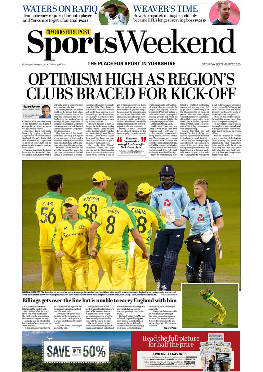 T-T-TEN pages of sport in your weekend @YPSport ⚽️ @sturayner on #lufc Premier return ⚽️ @HarrogateTown chief on EFL debut 🏉 @DCravenYPSport on a bonkers night in @SuperLeague 🏏 @CWatersYPSport on #Rafiq row 🚴♂️ @Tompid interview 🏇 Leger build-up #buyapaper
