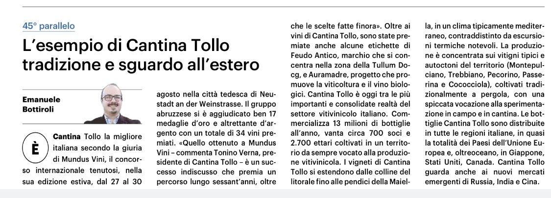 Oggi la mia rubrica sul quotidiano QN Il Giorno è dedicata a Cantina Tollo che porta l'Italia nel mondo. @cantinatollo https://t.co/vj6lOf0cx0