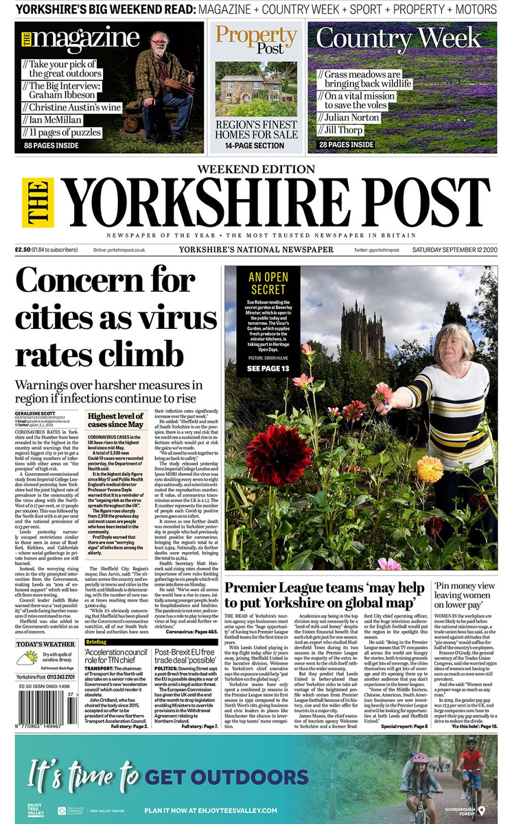 Good morning #Yorkshire, heres your excellent weekend edition of The Yorkshire Post in one package, complete with... The Magazine📰 Country Week🚜 Sports Weekend⚽️ Property Post🏡 Motoring🚗 We all hope you enjoy your #weekend reading. #ProtectProperJournalism #buyapaper