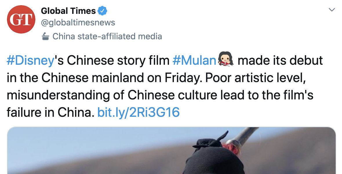 Well, this is one tactic to distract from the genocide of Uyghurs and Muslim minorities in Xinjiang and the growing support to #BoycottMulan. CCP state media #GlobalTimes now blames @DisneysMulan poor opening on poor artistic level and misunderstanding Chinese culture. 🤣🤔