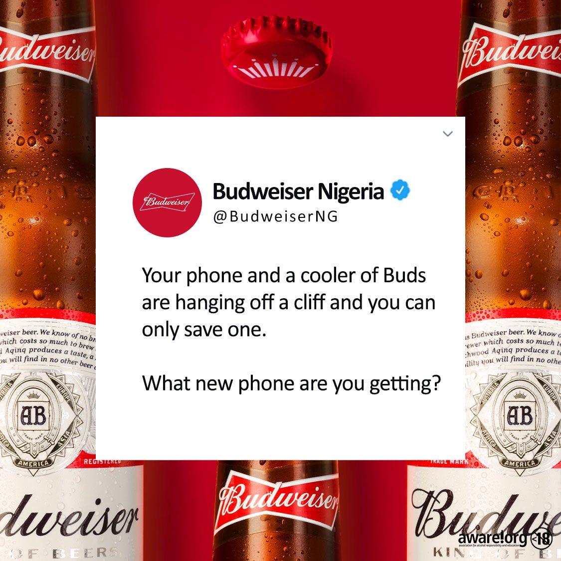 Your phone and a cooler of Buds are hanging from a cliff and you can only save one, what new phone are you getting?  #SmoothForNaijaKings #BeAKing https://t.co/Ee0K1B88jl