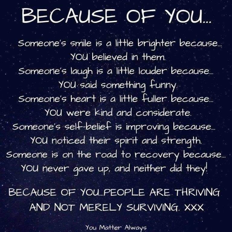 Because of YOU 💜💜💜 #YouMatterAlways #becauseofyou #whoyouarematters #justbeyou #betheonewhocares https://t.co/h5NNGuhRci