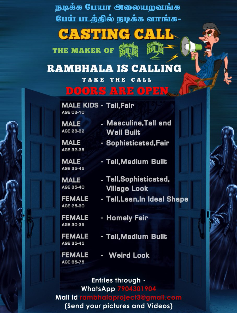 CASTING CALL ALERT !!!  Grab the Opportunity. From the Maker of Dhillukku Dhuddu and Dhillukku Dhuddu 2 Director Ram Bala's Next. https://t.co/klmm7ybmCm