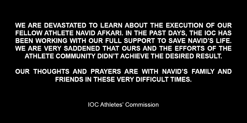 IOC Athletes Commission Statement on #NavidAfkari